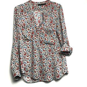 Zara Floral Long & 3/4 Sleeve V-Neck Shirt Small